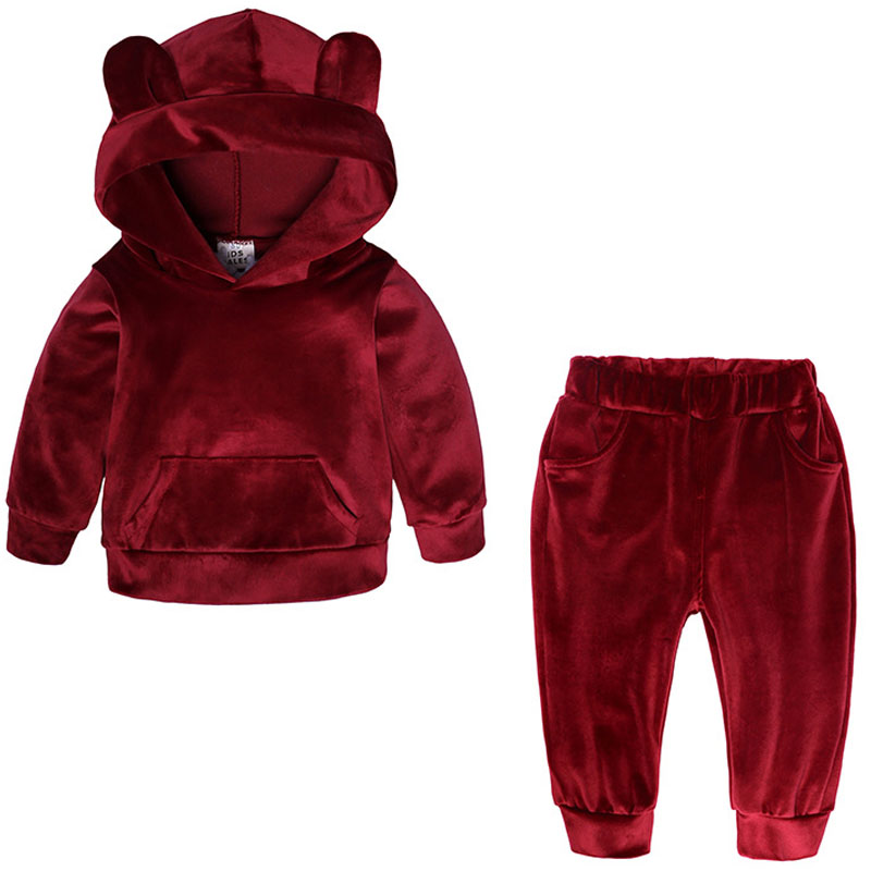 Baby Boys Girls Velvet Hooded Clothing Set Kids Jacket Coat Pants Suit for Sports Suits Tracksuits Toddler Children Clothes Set