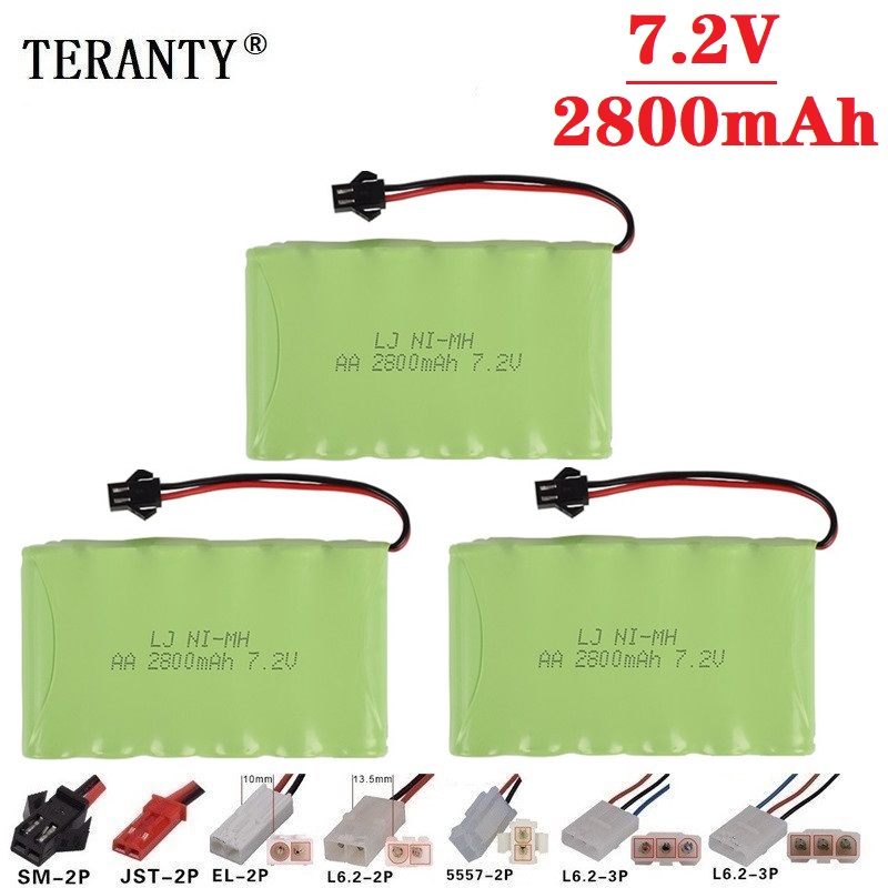 2800mah 7.2v Rechargeable Battery For Rc Toys Cars Rc Boat Tanks Train Robots Gun NiMH Battery AA 7.2v 2400mah Battery Pack 3pcs