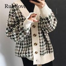 Rubilove Autumn Winter Lattice Knitted Long Cardigans Loose Casual Preppy Style Thick Sweaters Jumpers Women Knitting Jackets