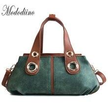 Mododiino Vintage Women Bag Patchwork Female Handbag Rivet Crossbody Scrub Leather Lady Eisure Shoulder DNV1027