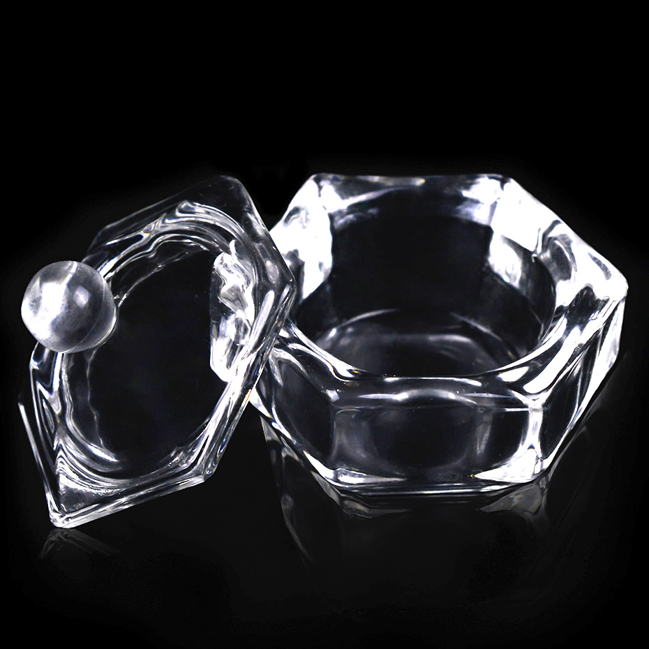 1pcs Acrylic Nail Art Cup Crystal Glass Bowl With Lid Powder Liquid Container Dappen Dish DIY Salon Manicure Design Tool LA024