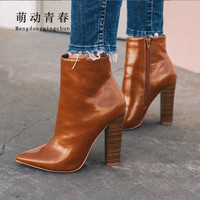 35 42 Big Size Fashion Europe Band Women Ankle Boots High Quality Pointed Toe Zip Brown Leather Botas Pumps Thick Heels Boots