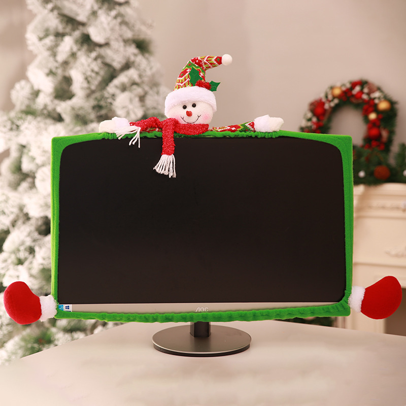 Computer Set Christmas Decoration Creative Cartoon Lovely Christmas Internet Cafe Office Hotel Mall Cashier Computer Decoration in Party DIY Decorations from Home Garden