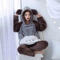 Winter Women Pajamas Warm Thickening Pajamas Set Animal Cartoon Home Clothes Hooded Flannel Sleepwear Female Home Service Suit