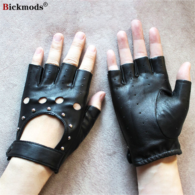 Leather Half Finger Gloves Women's Thin Single Layer Hollow Breathable Spring and Summer Outdoor Riding Driving Driver Gloves
