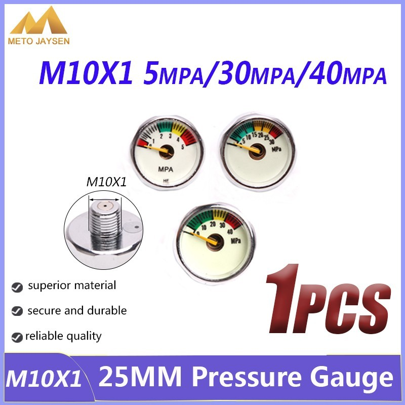High Pressure Gauge 25mm M10x1 1 Inch Air Mini Manometre PCP Paintball Airforce Pump Scuba Diving Valve Gauge 5mpa 30mpa 40mpa