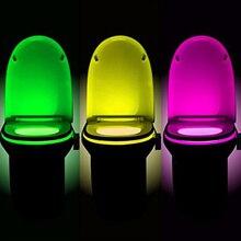 Светодиодный ночник для сиденья унитаза датчик движения WC Light 8 цветов сменная лампа с питанием от аккумуляторной батареи AAA подсветка для унитаза