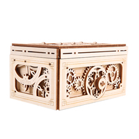 DIY Wooden Mechanical Transmission Model Music Double Jewelry Box Assembled Treasure Boxes Velentine's day Gift