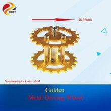 DOIT Metal Golden Yellow Caterpillar Driving Wheel Aluminum Alloy Wheel Roller Tank Driven Tyre Tire Crawler Caterpillar Chassis