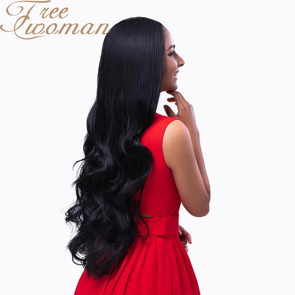 Супердлинный волнистый синтетический парик FREEWOMAN, 26 дюймов, парики средней длины с естественной линией волос для черных женщин, вечерние ис...