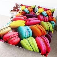 HM Life Bedding Set French Macaron Colorful Duvet Cover Set 3D Print Comforter Cover Dessert Food Girls 3pcs Soft Bedclothes