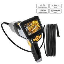 Dijital endüstriyel endoskop 1080P HD taşınabilir el Borescope muayene kamera videoskop 4.3 inç LCD ekran ile boru