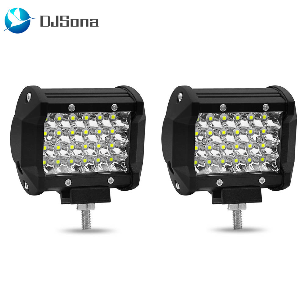2pc 72W 6000K LED Work Light Bar Driving Lamp Fog Off Road SUV Car Boat Truck