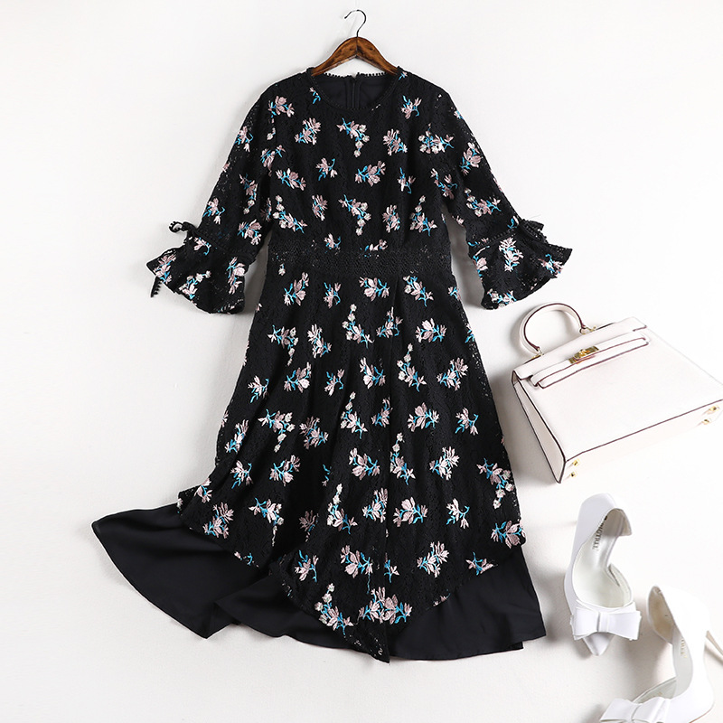 Lan Mu Square Large Size Dress Large GIRL'S Size Korean-style Mid-length-Style Floral-Print Loose-Fit Lace Dress 10101