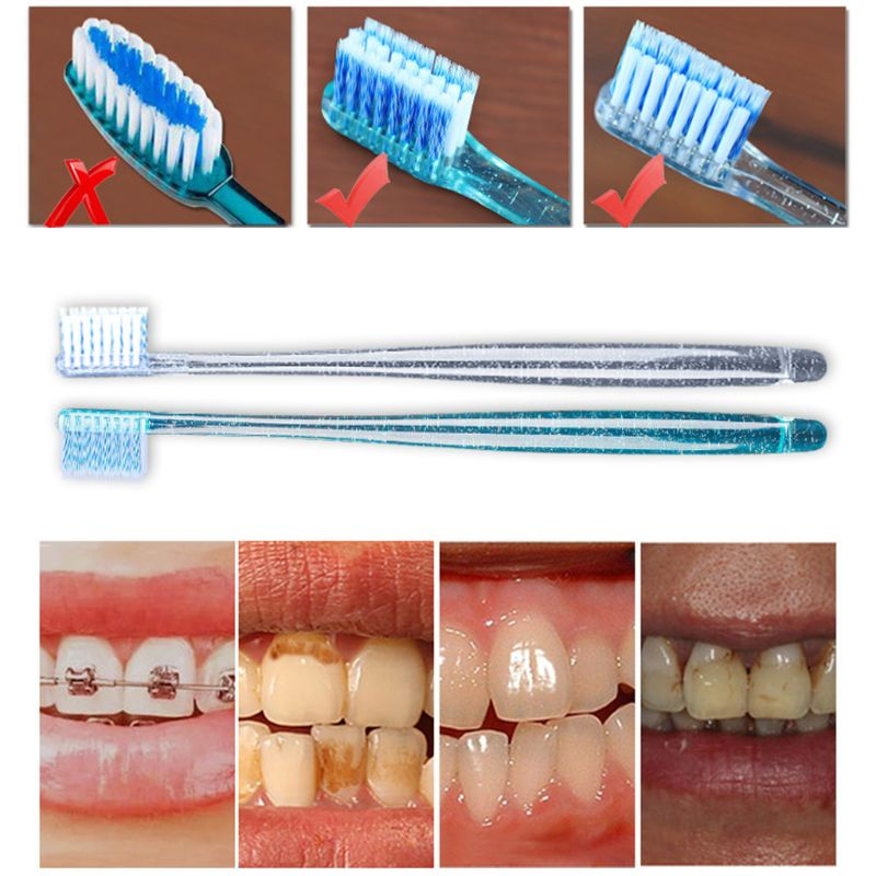 2Pcs/Set Adult Orthodontic Toothbrush U A Soft Trim Bristles Head for Braces Deep Cleaning Dental Teeth Whitening Oral Care R3MF image