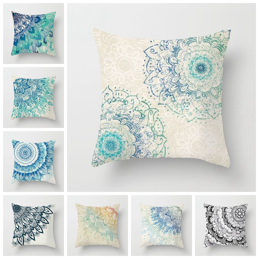 Fuwatacchi Geometric Pattern Pillow Cases Mandala Flower Pillows Cover For Home Sofa Chair Square Blue Cushion Covers Decoration