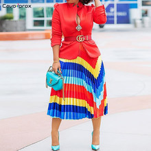 Women Rainbow Color Striped Pleated Statement Skirt Elastic Waist Casual Printed Mid-Calf Summer Street Wear Fashion Skirt(China)