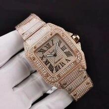 Топ розовое золото сверкающие высококачественные часы Полный