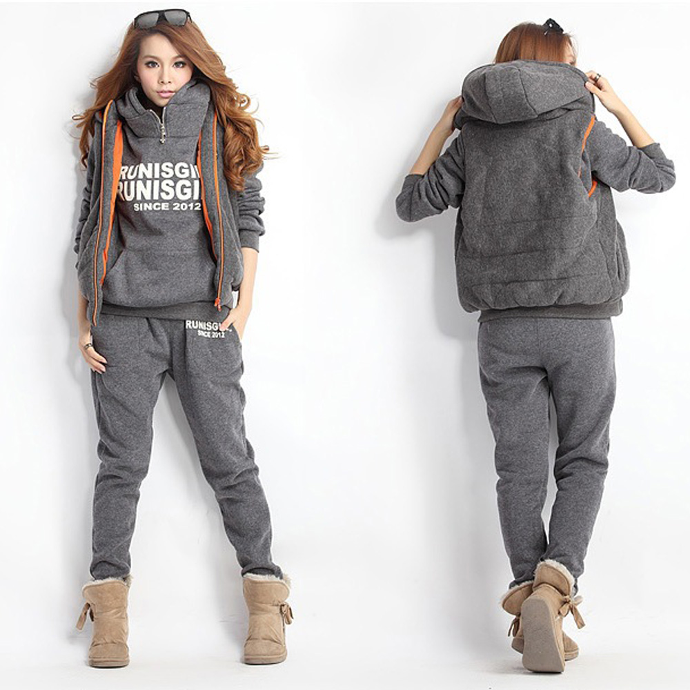 Autumn Winter Women Suit Warm Women's Tracksuits Casual Letter Hooded Fleece Sweatshirt Three Pieces Set Plus Size M-6XL