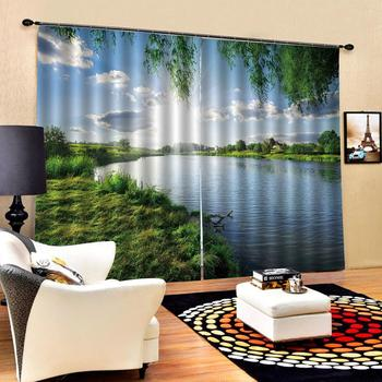 Nature scenery landscape curtains Customized size Luxury Blackout 3D Window Curtains For Living Room