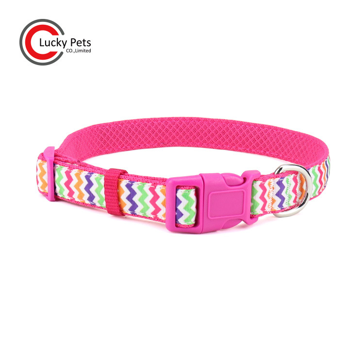 New Style Pet Supplies Breathable Griding Cushion Dog Neck Ring Jacquard Weaving Rainbow Pet Collar