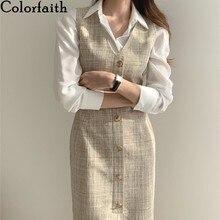 Colorfaith novo 2021 primavera outono vestidos femininos sem mangas de cintura alta xadrez moda senhora escritório selvagem vestido longo dr1323