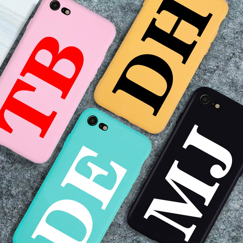 Personalised Name Initial Soft TPU Case For iPhone 11 Pro X XR XS MAX 6S 6 7 8 Plus Anti-fall Candy colors iPhone Case