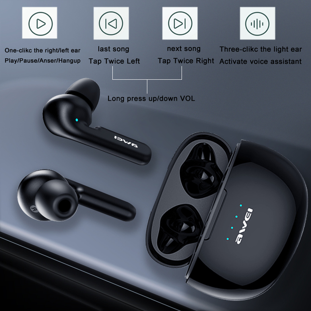 AWEI T15 TWS Bluetooth Earphones Mini In ear Sports headset For phone iPhone 7 x Xiaomi Huawei and others 2