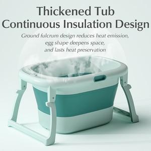 Image 2 - Baby Shining Bath Tub Bed 0 15Y Swim Plastic Portable Folding Home Bath Large Thick Widen Heat Preservation Children Bath Bucket