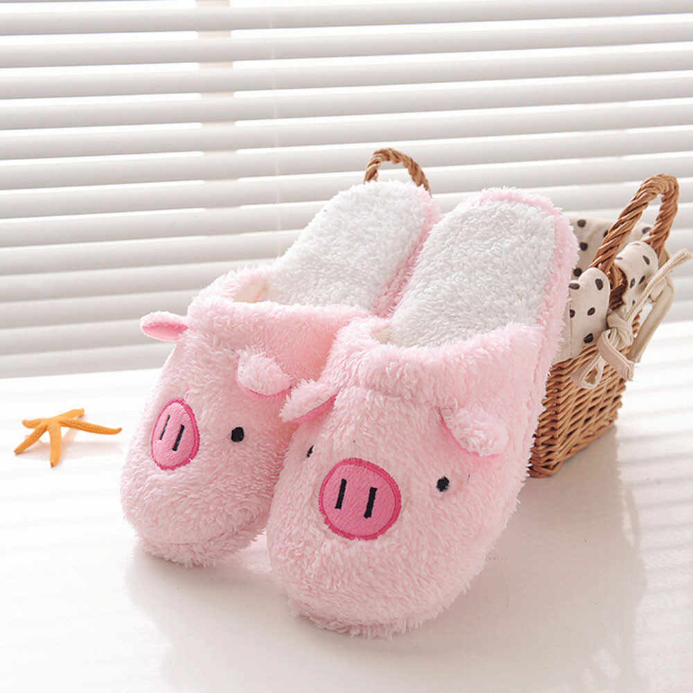 2020 New Lovely Women Flip Flop Cute Pig Shape Home Floor Soft Stripe Slippers Female Shoes Girls Winter Spring Warm Shoes