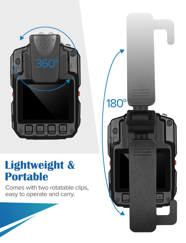 כורסאות טלויזיה BOBLOV HD66-07 גוף משטרת וידאו מצלמת DVR 64GB חוק אכיפת המצלמת 16X זום דיגיטלי 170 מצלמת Wide Angle ראיית לילה כיס (3)