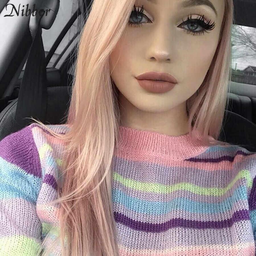 Nibber herbst heißer Bunte Harajuku Pullover women2019fall winter lose Grundlegende crop top damen Eleganten straße casual Pullover mujer