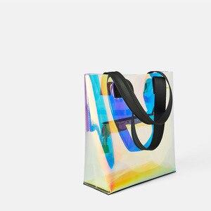 Image 3 - Lazer Hologram şeffaf çanta PVC şeffaf Tote çanta yeni moda büyük omuzdan askili çanta yaz plaj büyük kapasiteli alışveriş çantaları