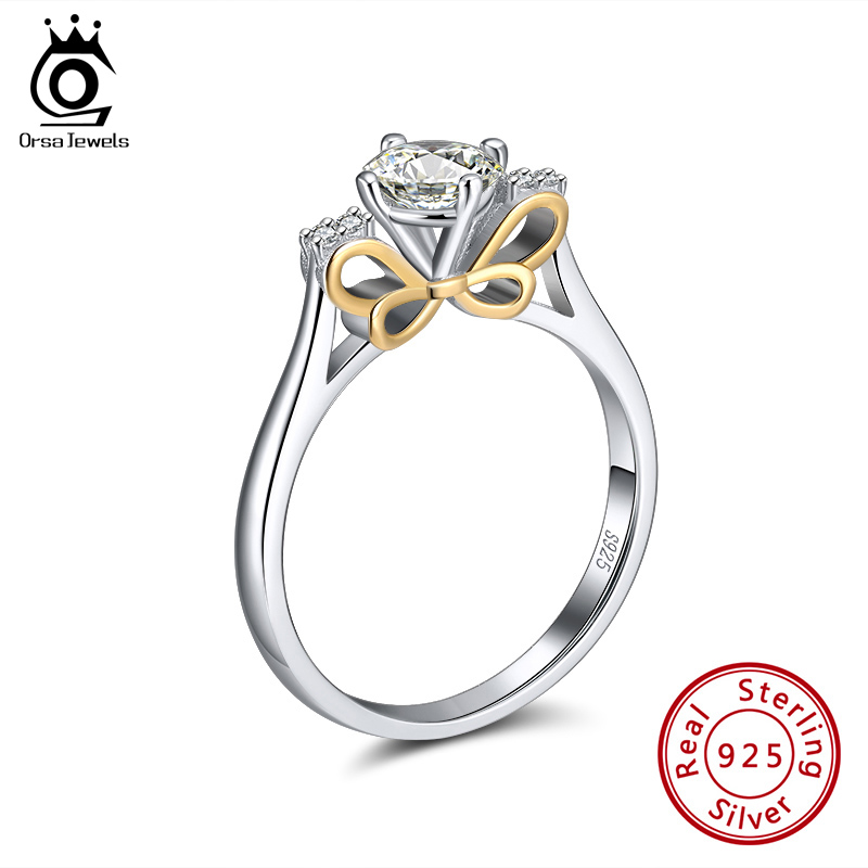 ORSA JEWELS Genuine 925 Silver Crown Rings Elegant AAAA Zircon Solitaire Ring For Women Wedding Engagement Fine Jewelry SR211