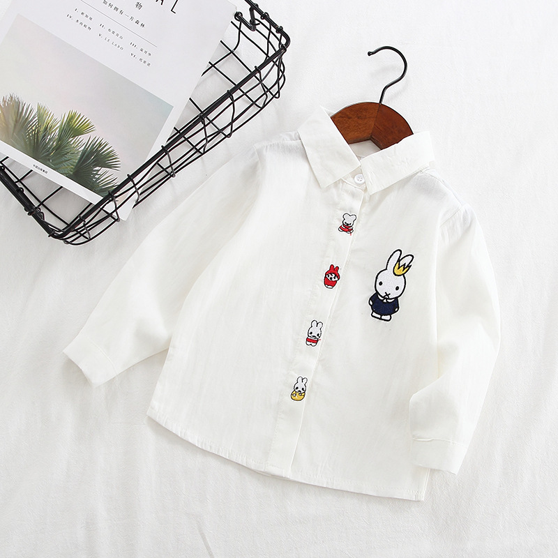 Children Baby Long-sleeved Shirt 2019 Spring And Autumn New Style Girls Korean-style Childrenswear CHILDREN'S Cartoon Bunny Shir