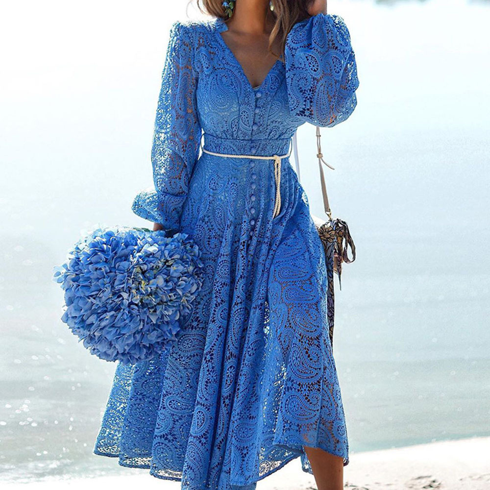 Dress Women Dress Fashion Women Elegant Sweet Hallow Lace Out Lace Dress Sexy Party Solid Autumn Dresses Vestidos Blue