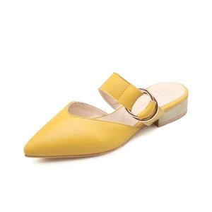 Image 5 - Sianie Tianie 2020 קיץ כיכר נמוך עקבים מחודדת הבוהן צהוב אבזם אישה חיצוני נעלי גבירותיי נעלי נשים פרדות גודל 46 48