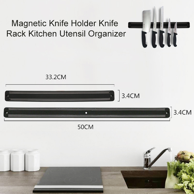 Магнитный держатель для ножей, 14 дюймов, подставка для кухонных ножей, полоса, настенный Магнитный блок, алюминий для хранения ножей, аксесс...