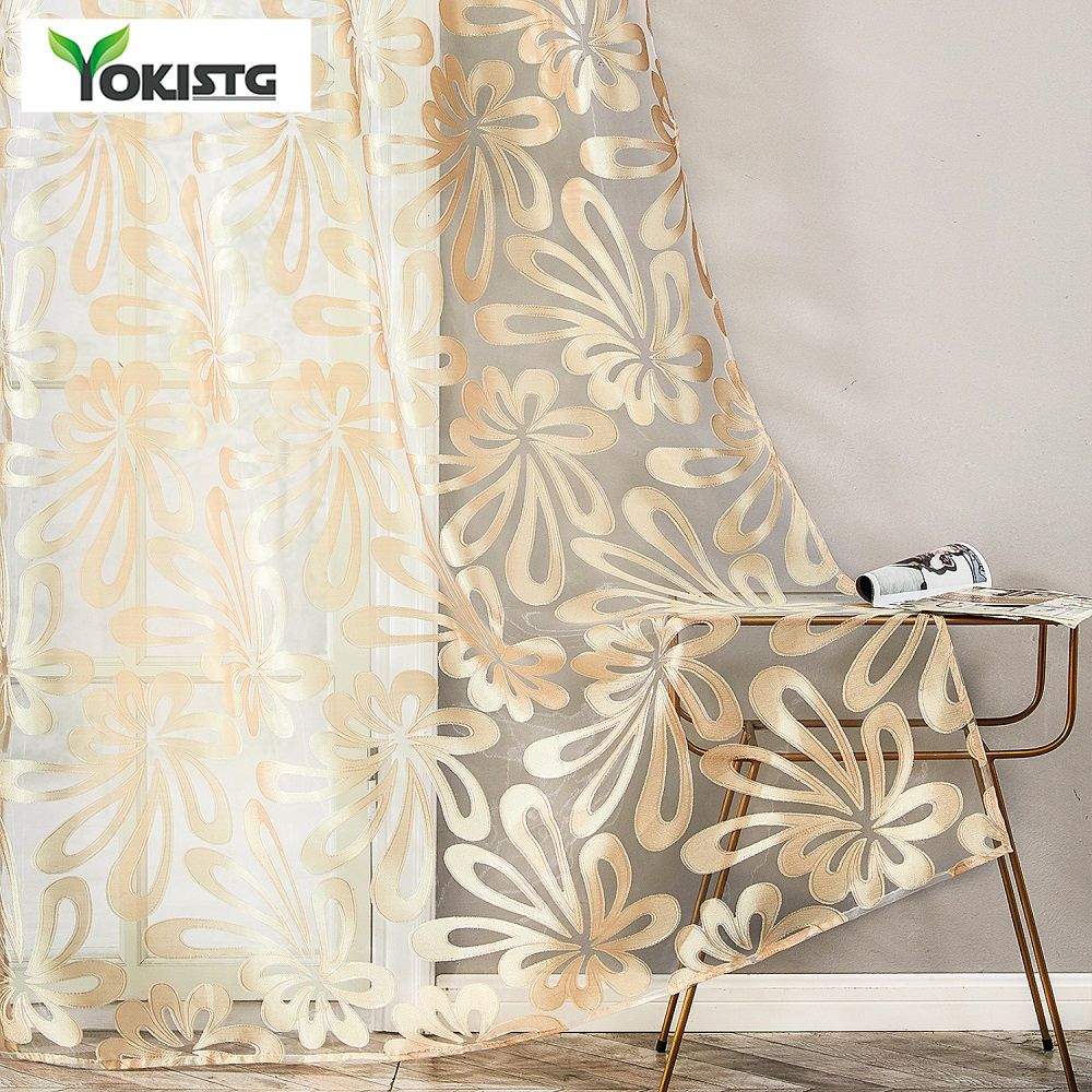 YokiSTG Geometric Flower Sheer Curtain Panels For Living Room The Bedroom Kitchen Blinds Modern Window Treatments Draperies