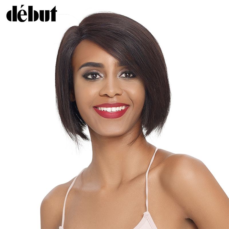 Debut Natural Color L Part Lace Front Human Hair Wigs For Women Straight Lace Bob Short Hair Wigs Remy Brazilian Women's Wigs