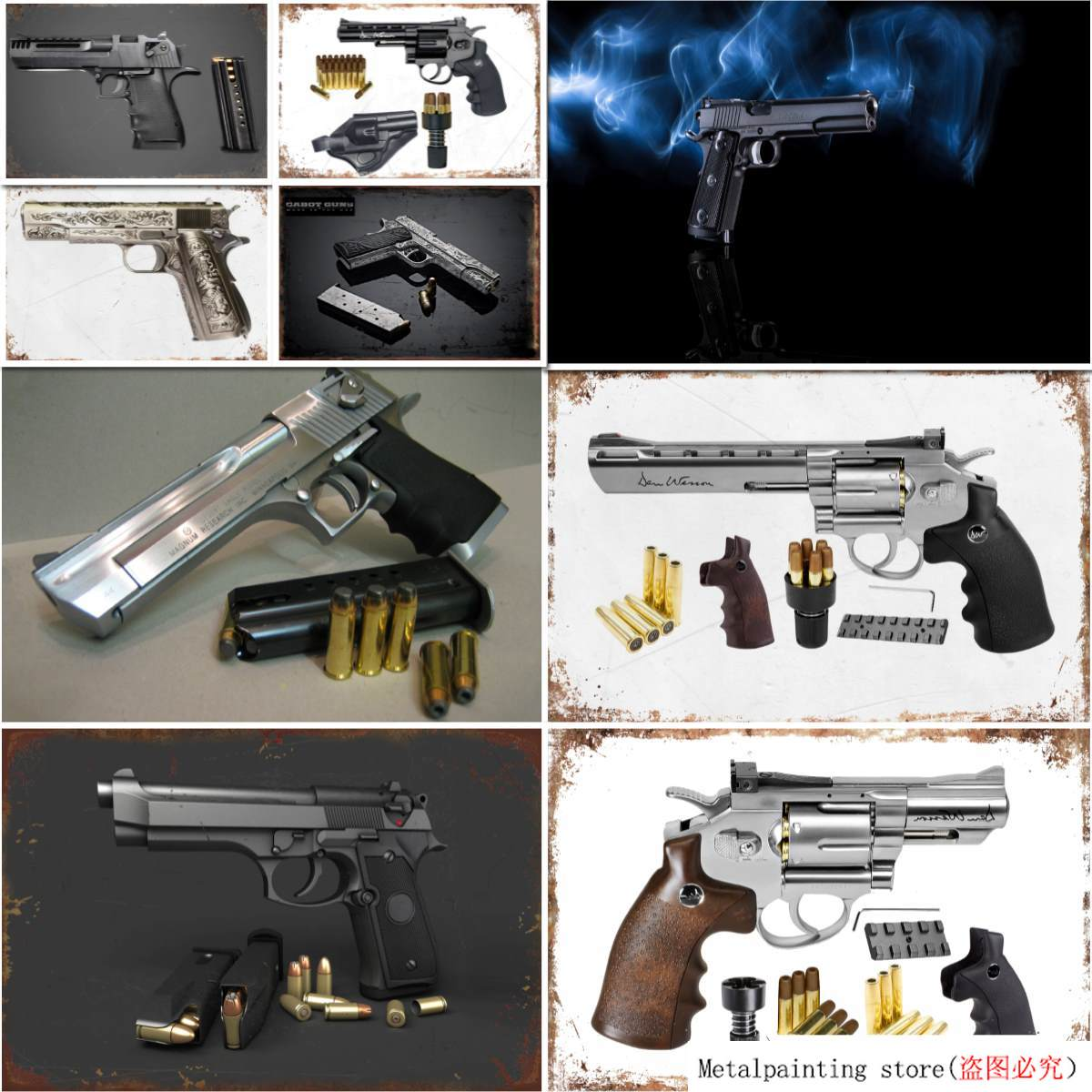 High Quality Black Spring Pistol Magnum Metal Sign Tin Art Painting Wall Decor Poster Plaque Bar Pub Club Cafe Home Plate