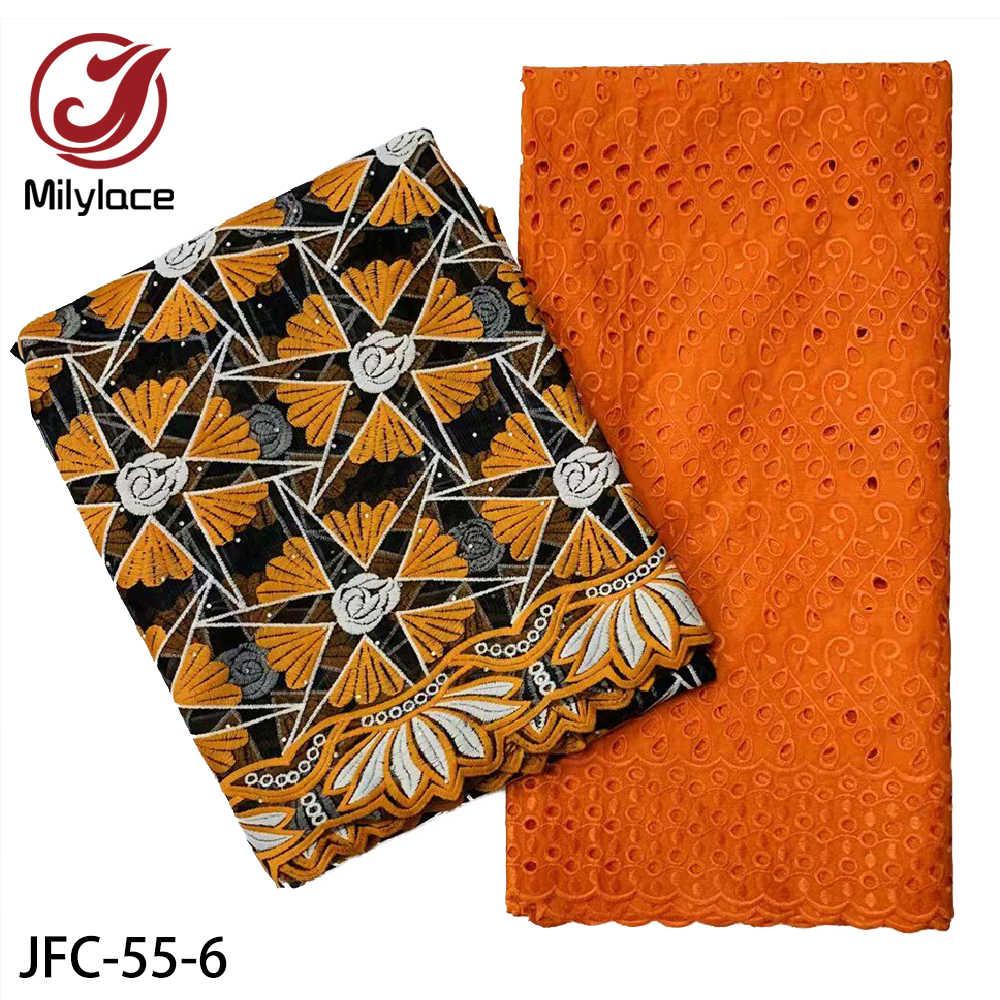 Новейшая вышивка из сухого кружева, 100% хлопчатобумажная ткань, швейцарская вуаль, кружево с французским тюлевым кружевом, популярный Дубайский стиль, 2,5 + 2,5 ярдов, JFC-55