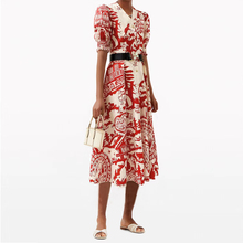 Printed Dress Women Cotton with Belt Designer Red New-Year