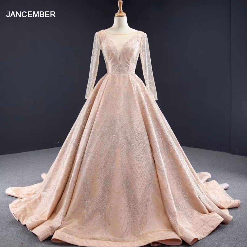 J67066 Jancember Long Evening Dresses With Sleeves O Neck Sequined Lace Gold Elegant Dress With Train платье вечернее длинное