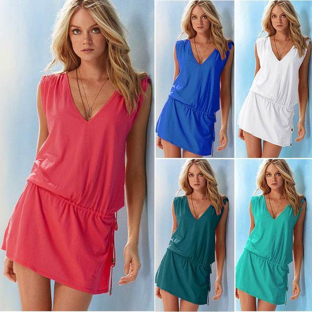 Summer beach dress women clothing 2021 short casual solid v-neck women party dress plus size sleeveless sexy Mini dresses 1