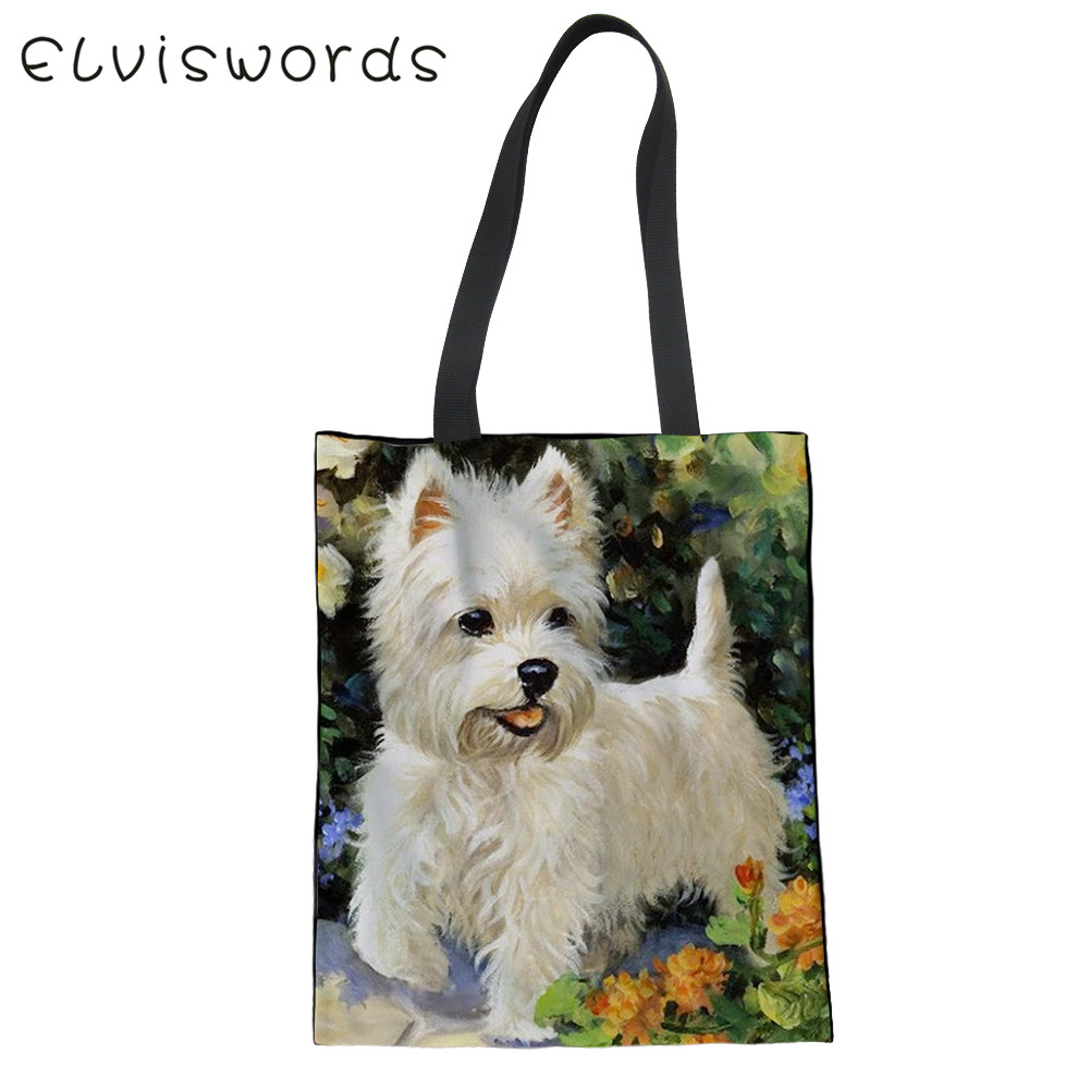 ELVISWORDS Durable Women Line Single Totes Bag Cute Yorkshire Terrier Westie Dog Printed Femme Canvas Shoulder Shopping Bag 2020