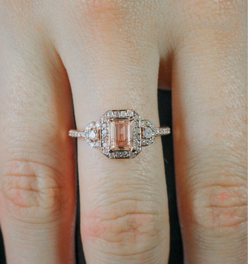 Luxury Cubic Rose Gold Filled Crystal Zircon Rings