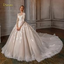Loverxu אפליקציות ארוך שרוול תחרת כדור שמלת חתונת שמלות 2020 יוקרה אשליה חרוזים קפלת רכבת בציר כלה שמלות