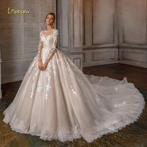 Image 1 - Loverxu Appliques 긴 소매 레이스 볼 가운 웨딩 드레스 2020 럭셔리 환상 페르시 예배당 기차 빈티지 신부 가운