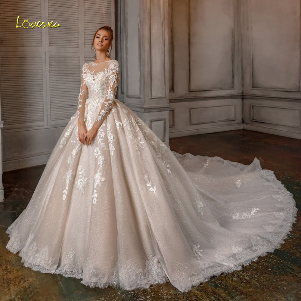 Loverxu Appliques Long Sleeve Lace Ball Gown Wedding Dresses 2020 Luxury Illusion Beaded Chapel Train Vintage Bridal Gowns